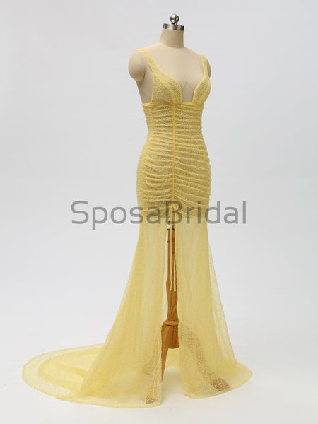 2020 Charming Modest Yellow Sequin Shinning  Unique Design Long Prom Dresses ,PD1027