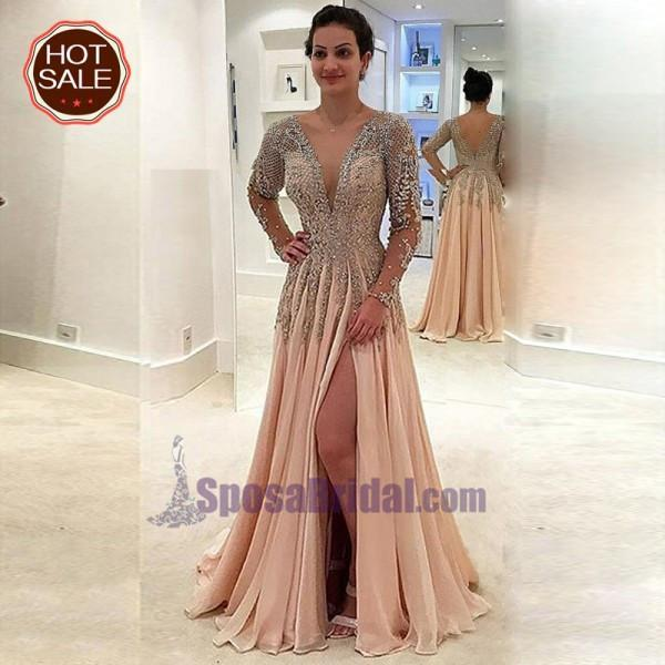 Deep V Back Most Popular Beaded Long Sleeves Split Fashion Modest Prom Dresses, Party dresses, PD0626