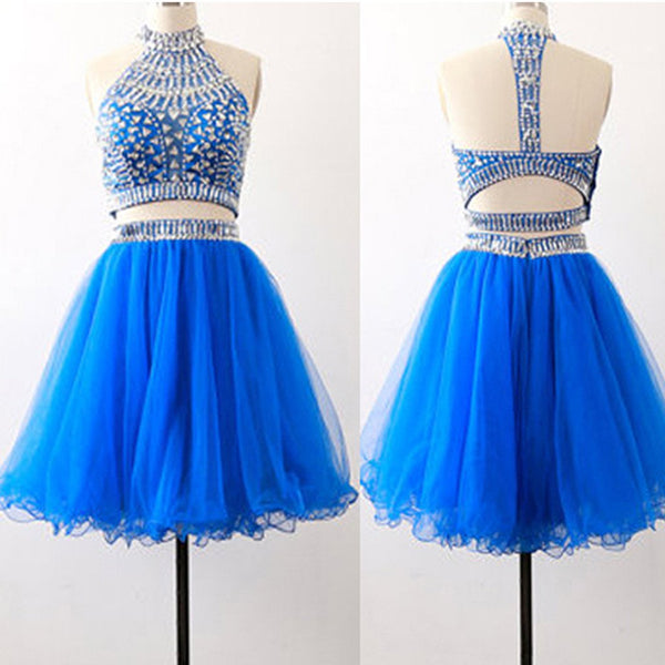 Royal blue two pieces sparkly bohemian open back charming homecoming prom dress,BD0006