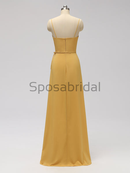 2020 Charming V Neck Spaghetti Straps Yellow Elastic Satin Long Prom Dresses with Side Split, PD0993