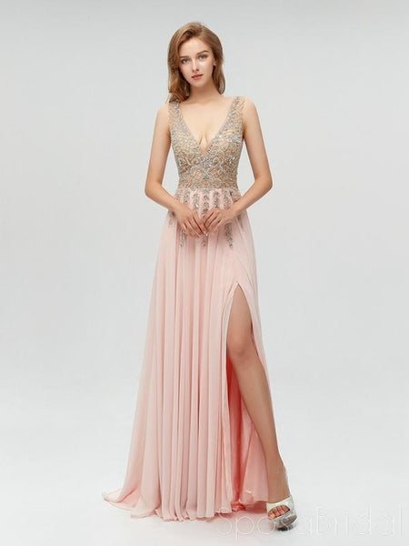 2020 Charming Custom V neck Sleeveless Side Sleeves Most Popular Affordable High Quality Prom Dresses, PD0600