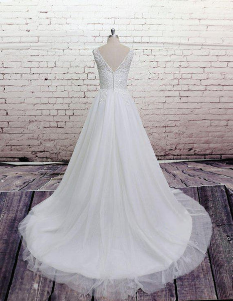 Cheap Lace Straps Scoop Tulle A-line Wedding Dresses Online, WD370 - SposaBridal