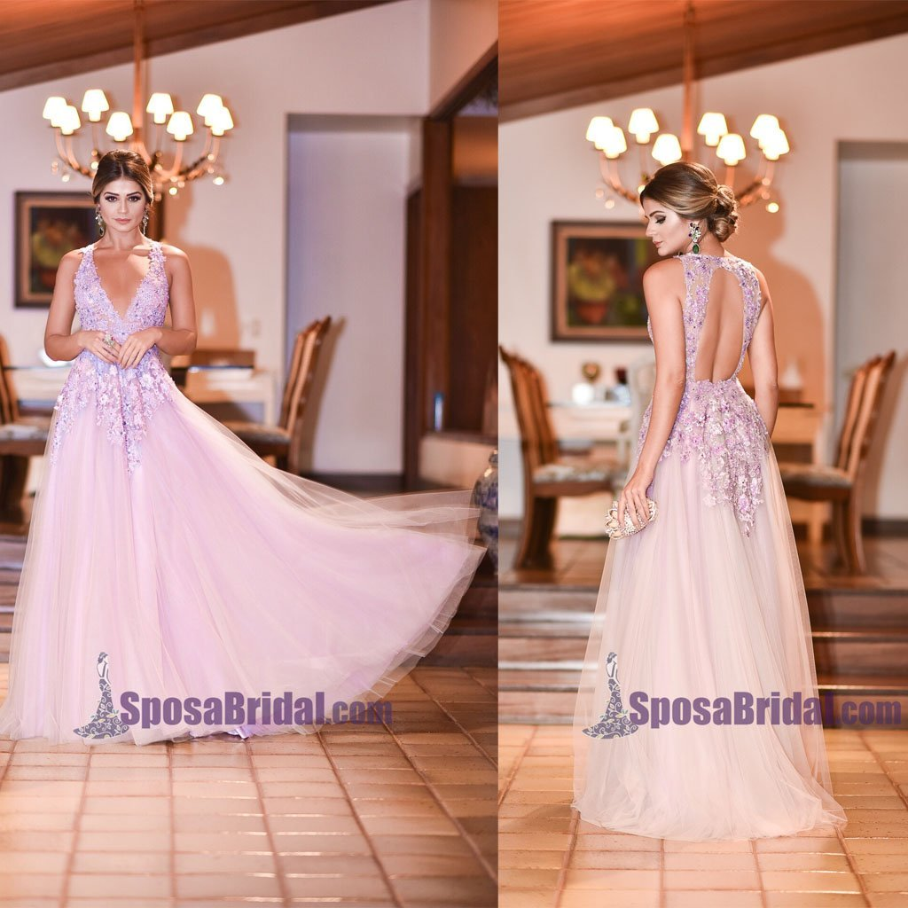 A-Line Open Back Lace V-Neck Tulle Formal Elegant Floor-Length Prom Dresses, Fashion Prom dress, PD0690
