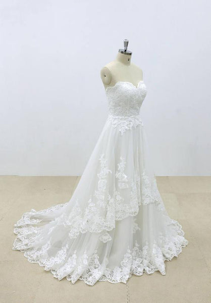 Affordable Sweetheart Lace A-line Unique Wedding Dresses Online, WD392 - SposaBridal