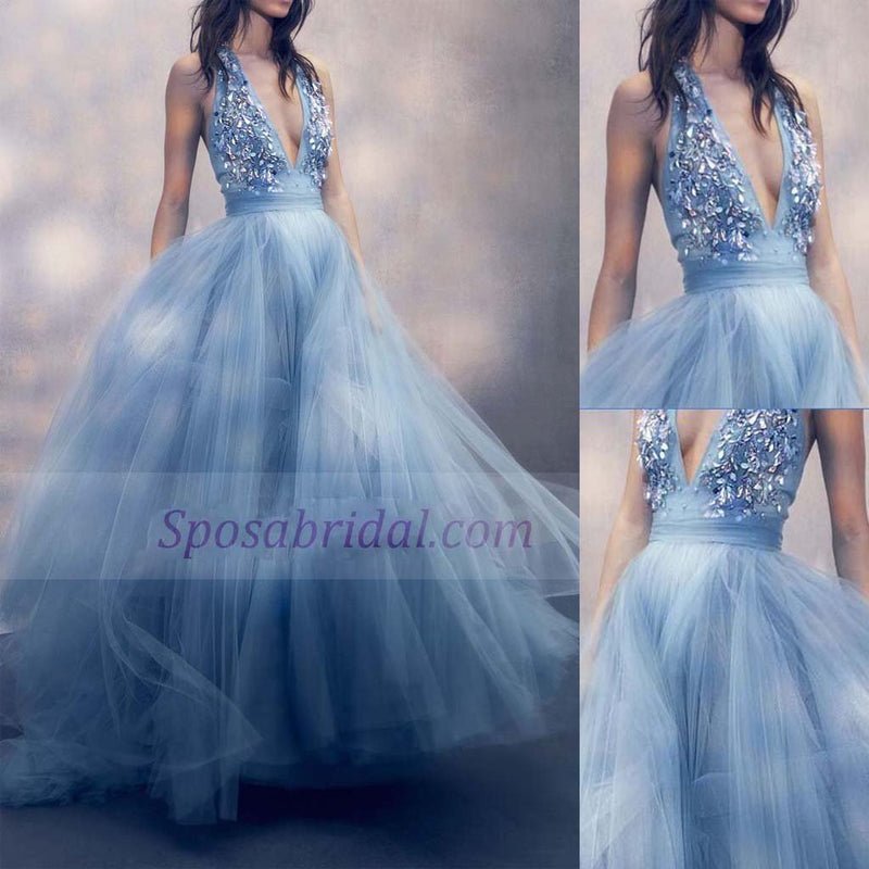 Blue Deep V Neck Sparkly Tulle Long Elegant Formal Real Handmade Prom Dresses, Party Evening dress, PD0657 - SposaBridal
