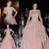 Beads Pink Beautiful Unique New Design Cap Sleeves Prom Dress, Party Dress, PD0314