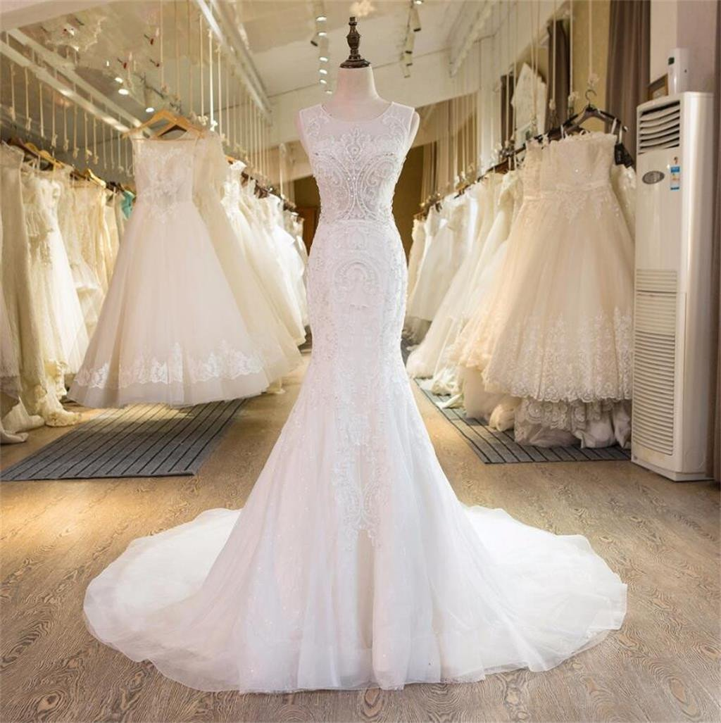 Mermaid Elegant Formal New Design Beading Handmade Pretty Free Custom Wedding Dresses,  WD0337