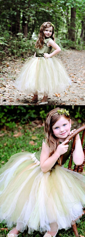 Green Satin Top Tulle Flower Girl Dresses, Cheap Popular Pixie Tutu Dresses,  FG023
