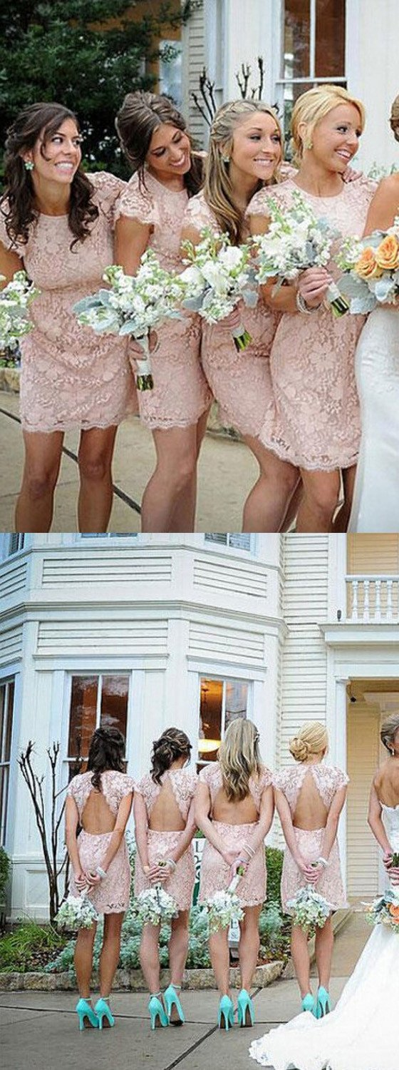 Fashion Cap Sleeve Small Round Neck Short  Blush Pink Mini Cheap Bridesmaid Dresses, WG116