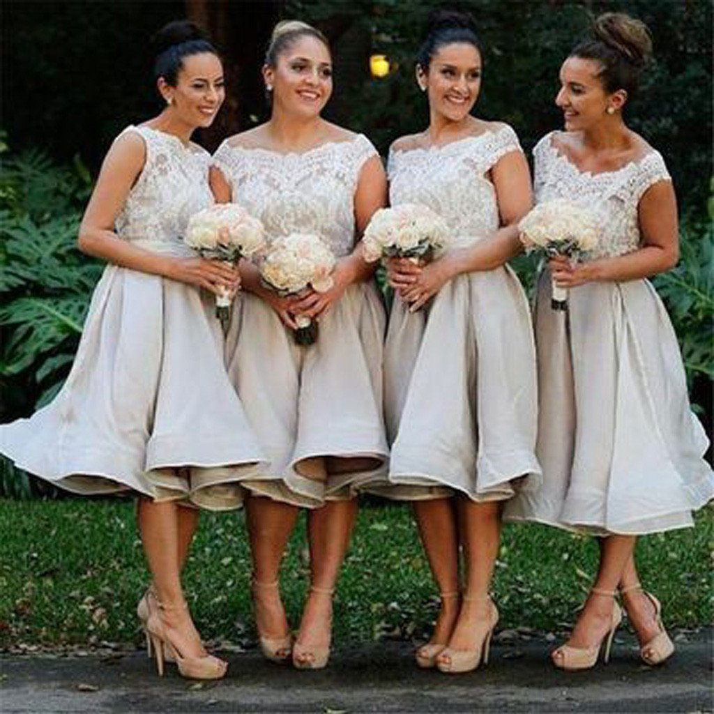 Morden Cap Sleeve Lace Organza Knee-Length Short Affordable Bridesmaid Dresses , WG117