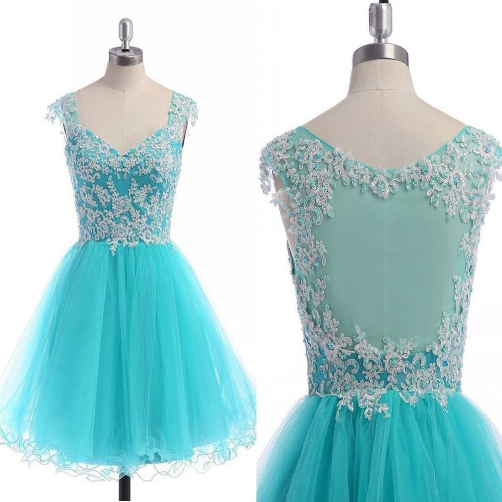blue see through tulle cap sleeve cute casual cocktail freshman homecoming gowns dress,BD00118 - SposaBridal