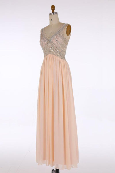 V Neck Top Beaded Fashion Elegant Floor-Length Beautiful Prom Dresses, Party Evening dress, PD0653