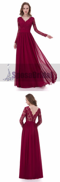 Red Long Sleeve V-Neck Full Lace Prom Dresses, Popular Custom Bridesmaid Dresses, PD0478