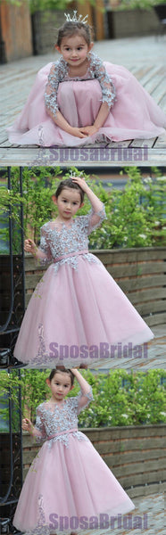 Long Sleeves Lace Appliques Scoop Hot Sale Flower Girl Dresses  , Junior Bridesmaid Dresses, FG106