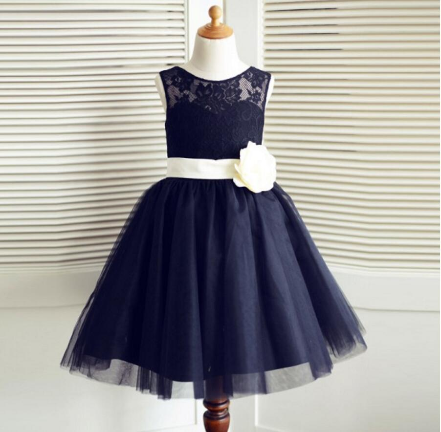 Navy blue tulle lace bowknot sash flower girl dresses lovely tutu navy blue tulle lace bowknot sash flower girl dresses lovely tutu dresses fgs011 izmirmasajfo