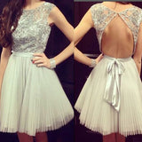 Grey cap sleeve gorgeous open back casual charming homecoming prom dress,BD0011