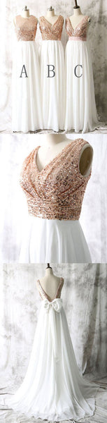 Mismatched Different Styles Sequin Top White Chiffon  On Sale Long Bridesmaid Dresses , WG17