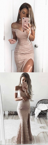 2019 Charming Lace Off Shoulder Slit Prom Dresses, Popular Prom Dress, Evening Dress, PD0439 - SposaBridal
