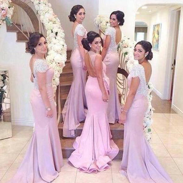 Beading Cap Sleeve Open Back Sexy Mermaid Inexpensive Long Bridesmaid Dresses, WG120 - SposaBridal