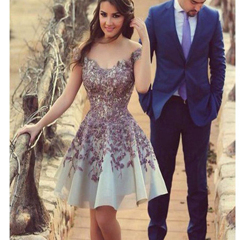 A-line Gorgeous Short with purple appliques casual junior homecoming ...