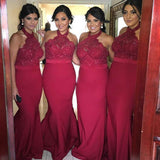 Cheap Popular Red Halter Sexy Mermaid Lace Long Wedding Guest Bridesmaid Dresses, WG125 - SposaBridal