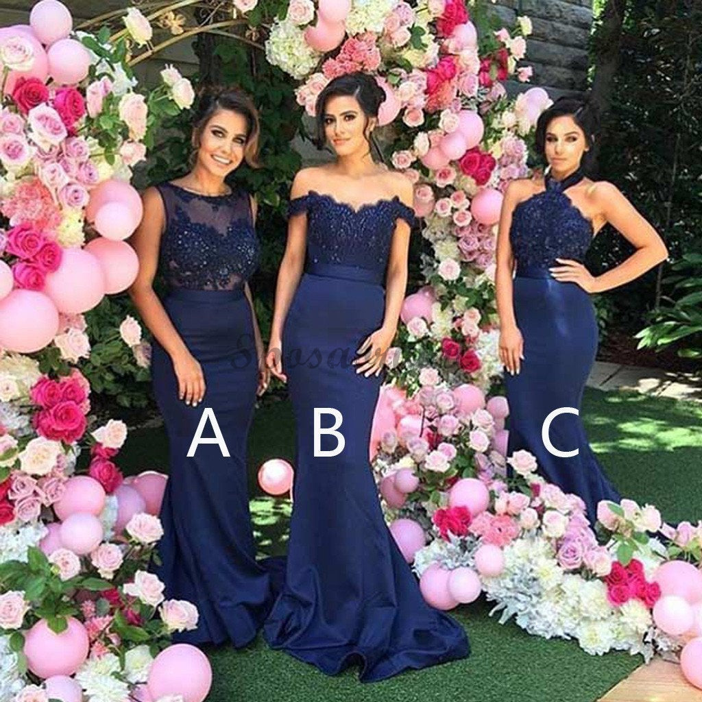 2019 Mismatched Sexy Different Mermaid Royal Blue Long Affordable Bridesmaid Dresses, WG127 - SposaBridal