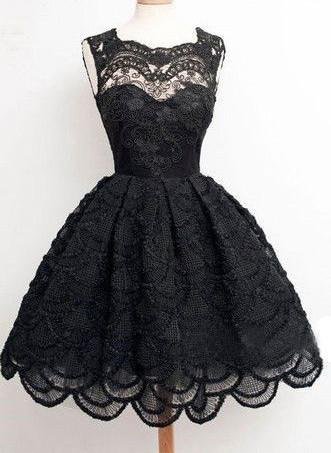 Black lace simple modest vintage freshman homecoming prom dresses, BD00129 - SposaBridal