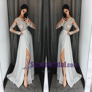Charming Long Sleeves V neck Top Lace Chiffon Navy Grey Burgundy Prom Dresses, Evening dress, PD0668