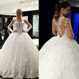 Cheap Stunning Scoop Neck Long Sleeve Lace Ball Gown Wedding Dresses, WD0136 - SposaBridal