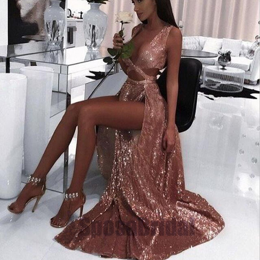 2019 Charming Sexy Sequin Sparkly Simple Rose Gold and Black Split Fashion Popular Prom Dresses, Evening dresses, PD0594
