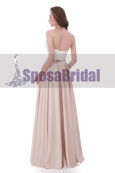 Two Pieces Halt A-line Beautiful Simple Fashion Prom Dresses, 2018 New Arrival Prom Dress, PD0479