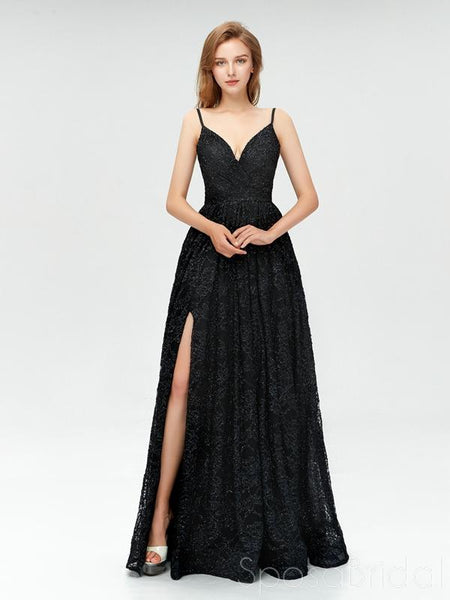 2020 Black Sequins Spaghetti Straps Split Simple Fashion Luxury Prom Dresses, Special Occasions Dresses,PD0823