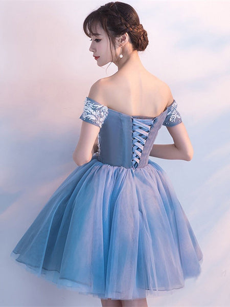 Cheap Blue Off Shoulder Lace Cute Homecoming Dresses, CM446 - SposaBridal
