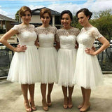Beautiful Cap Sleeve White Tulle Short Sleeve Knee Length Wedding Party Dresses, WG140 - SposaBridal