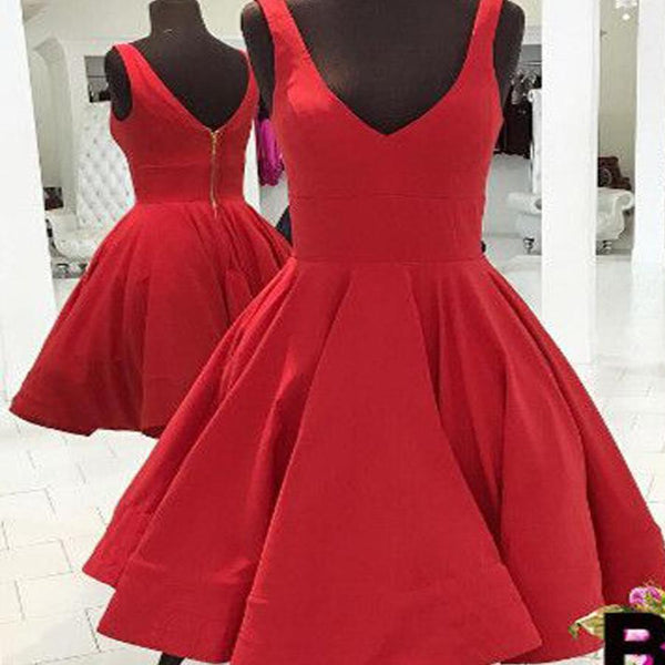 Blush red simple v-neck freshman A-line cheap homecoming prom gown dress,BD00141 - SposaBridal