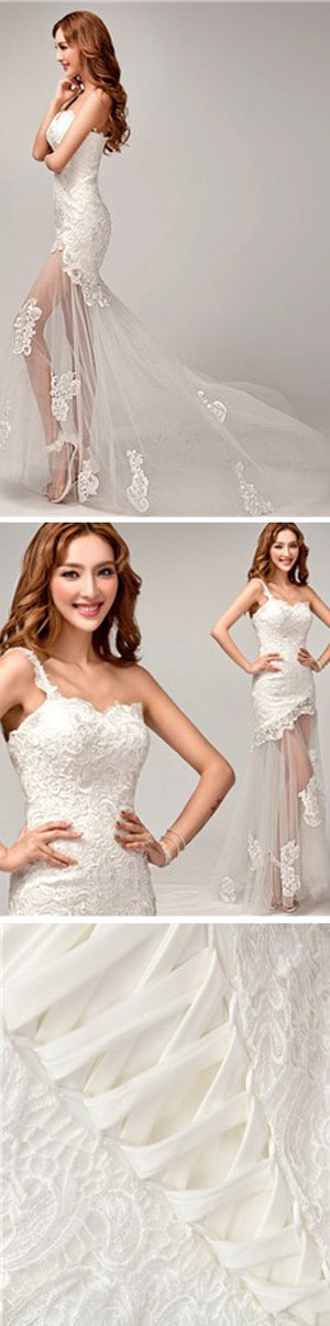 New Design One Shoulder Lace Top See Through Sexy Mermaid Lace Up Wedding Dresses, WD0143