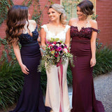 2017 Charming Stunning Burgundy Pink Navy Off Shoulder Train Mermaid Bridesmaid Dress, WG211