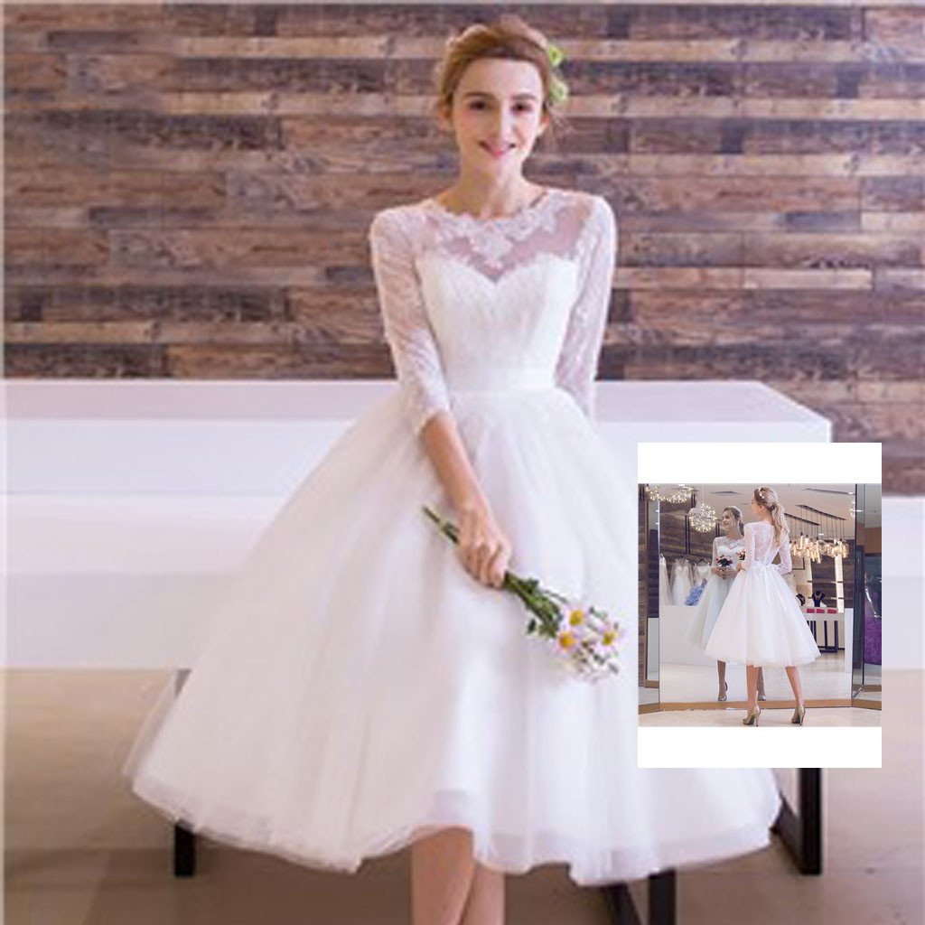 White Round Neck Tulle Lace Long Wedding Dress White: Cute Short White Lace Round Neck Half Sleeve See Through