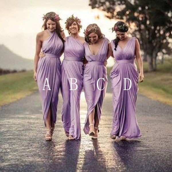 Charming Mismatched Pleating Different Styles Lilac Floor Length Cheap Wedding Guest Dresses, WG145 - SposaBridal