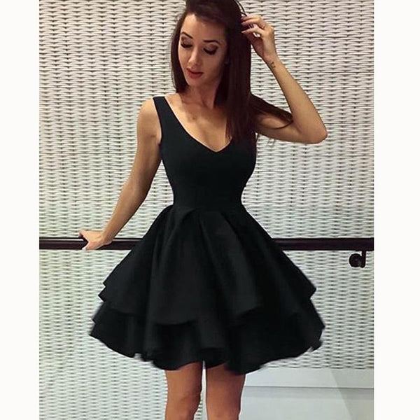 Cheap Short Simple V Neck Black Homecoming Dresses Online, CM531 - SposaBridal