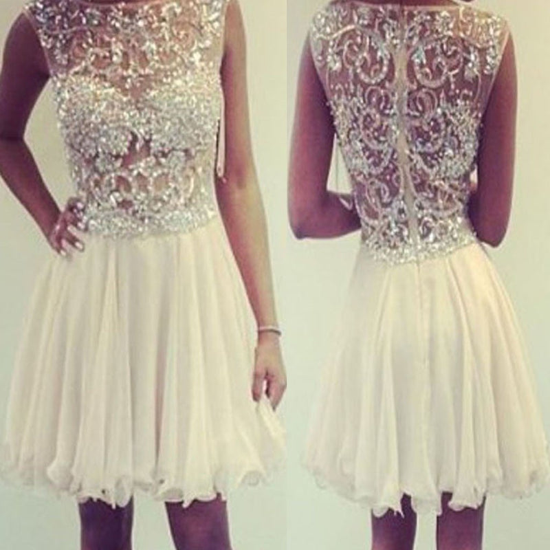 cap sleeve see through  gorgeous unique homecoming prom dress,BD0014