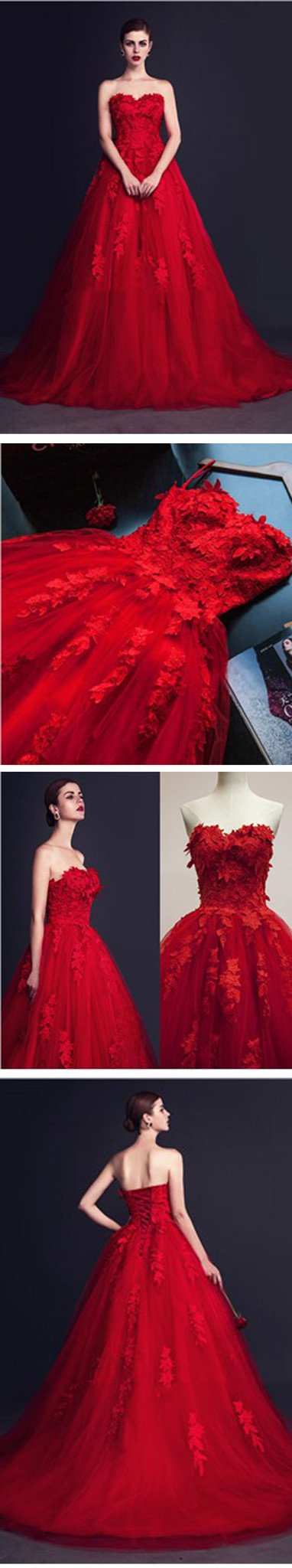 Stunning Red Tulle Sweetheart Appliques Lace Up Ball Gown Wedding Dresses, WD0150