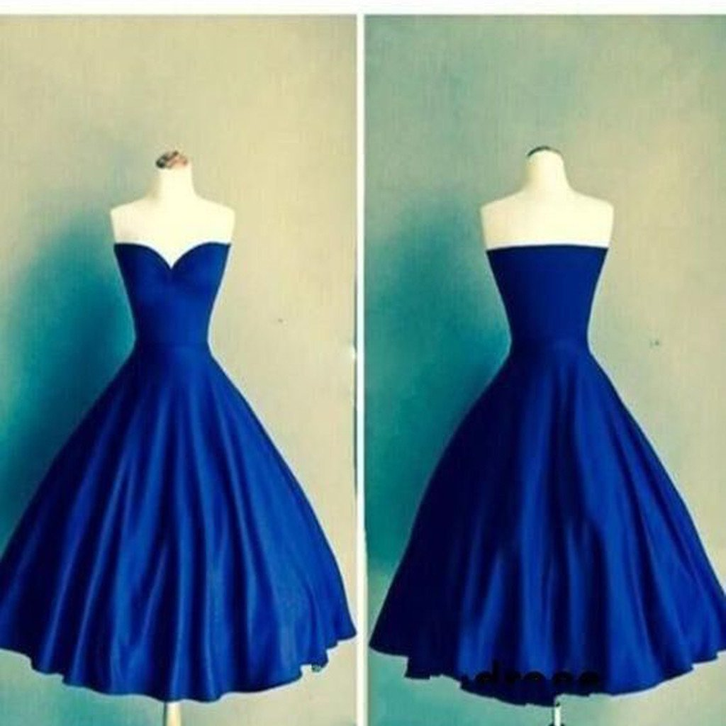 Royal blue Ball Gown sweetheart simple tight homecoming prom gown ...