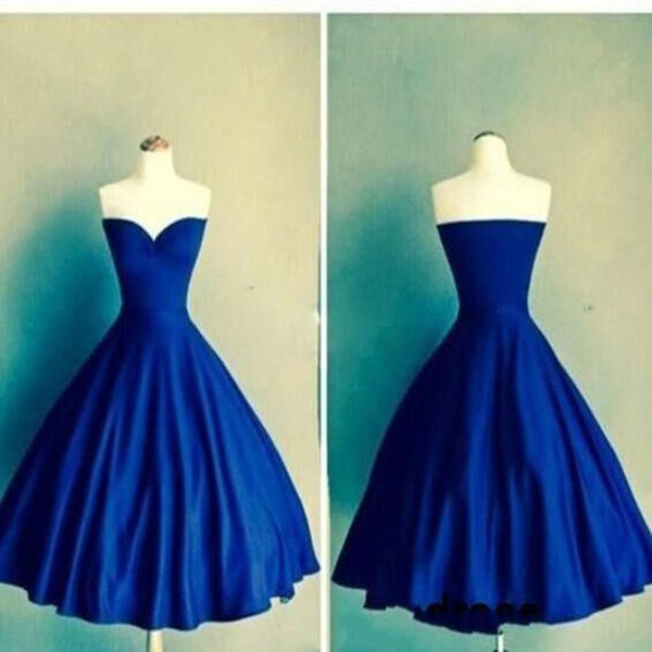 Royal blue Ball Gown sweetheart simple tight homecoming prom gown dress,BD00155