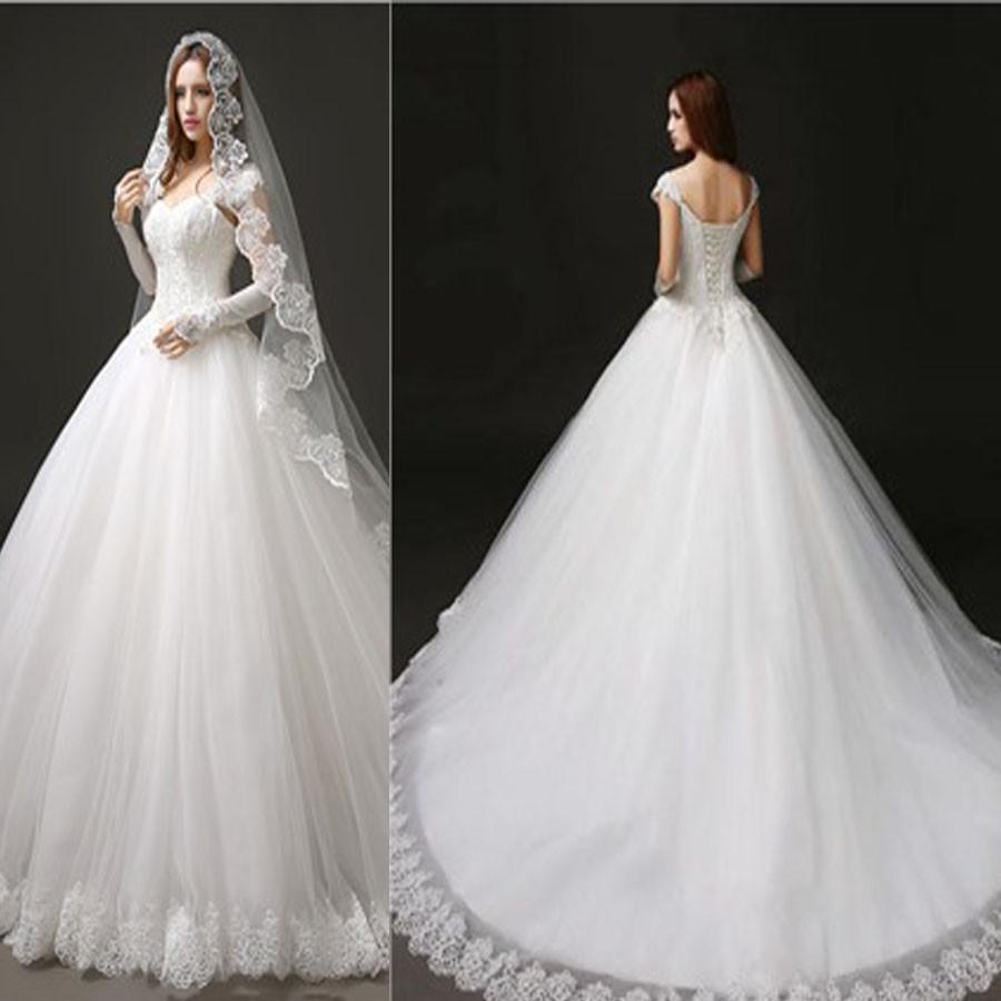 Classic Style Cap Sleeve Lace Top Ball Gown Lace Up Wedding Dresses ...