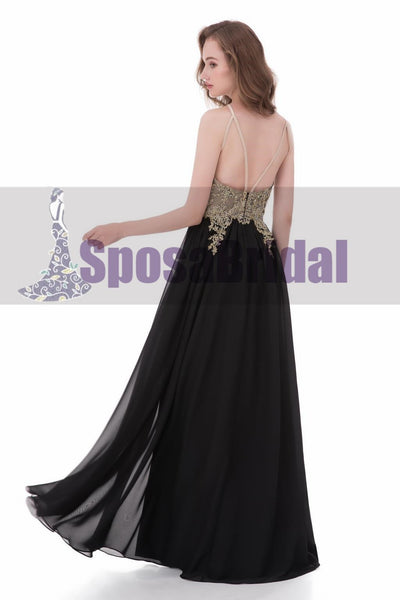 Black Chiffon Gold Halt A-line Gorgeous Prom Dresses, Elegant Formal Prom Dress, PD0480 - SposaBridal