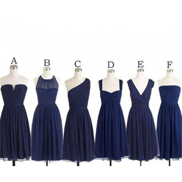 Navy short popular cheap chiffon long Custom Bridesmaid Dress,wedding guest dress , WG218
