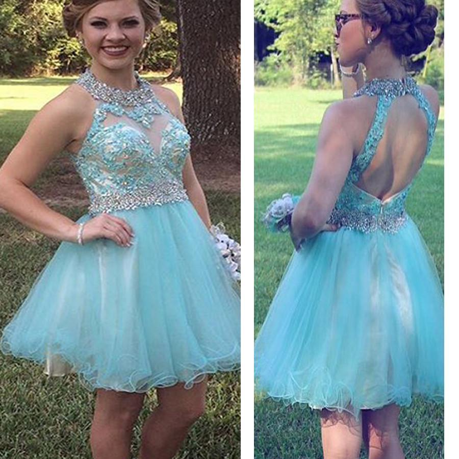 Hot Selling Tiffany Blue sparkly open back cute for teens homecoming ...