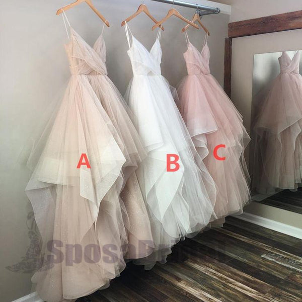 Charming Long Spaghetti Straps Tulle Simple Popular Fashion  Prom Dresses, Prom Gowns For party, PD0582 - SposaBridal