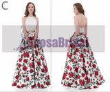 Fashion Newest Mismatched Two Pieces Sleeveless A-line Unique Prom Dresses, PD0477